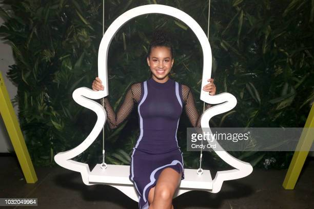 Sofia Wylie poses by the Snapchat swing during the Teen Vogue's Body Party Presented By Snapchat on September 11 2018 in New York City