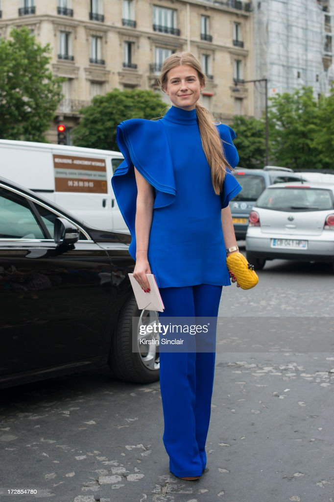 Sofia Zaika wears a Bottega Veneta bag and Gucci top and trousers on day 2 of Paris Collections: Womens Haute Couture on July 02, 2013 in Paris, France.