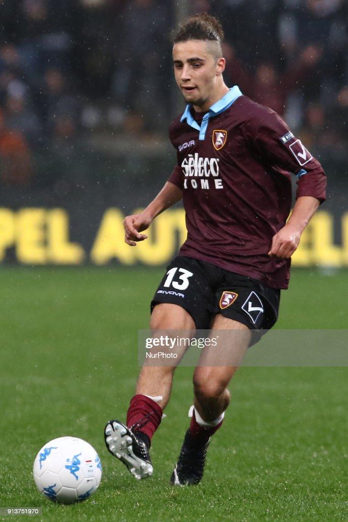 Sofian Kiyine (US Salernitana) during Italy Serie B match between US Salernitana and Carpi FC at Stadium Arechi in Salerno, Italy, on 2 February 2018.