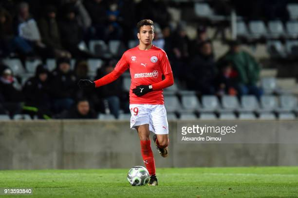 Sofiane Alakouch of Nimes during Ligue 2 match between Nimes and AC Ajaccio at Stade des Costieres on February 2 2018 in Nimes France