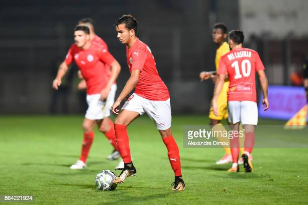Sofiane Alakouch of Nimes during the Ligue 2 match between Nimes Olympique and Stade Brestois at on October 20 2017 in Nimes France