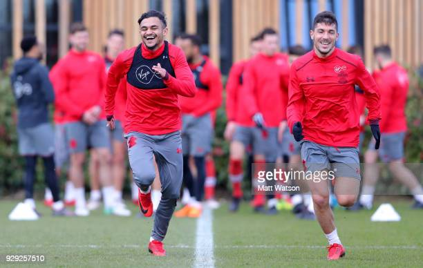 Sofiane Boufal and Jeremy Pied during a Southampton FC training session at the Staplewood Campus on March 8 2018 in Southampton England