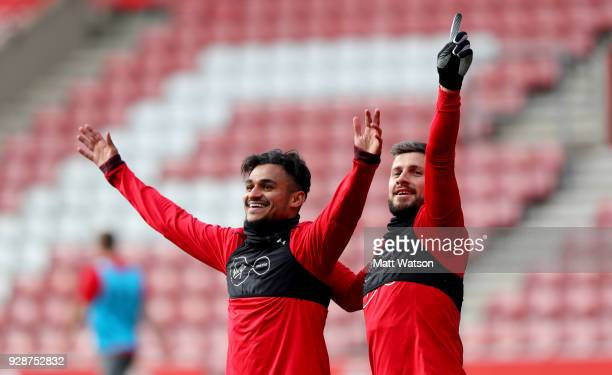 Sofiane Boufal and Shane Long during a Southampton FC training session at St Marys stadium on March 7 2018 in Southampton England