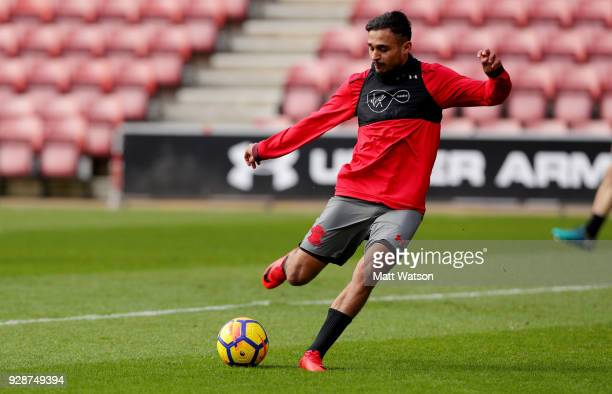 Sofiane Boufal during a Southampton FC training session at St Marys stadium on March 7 2018 in Southampton England