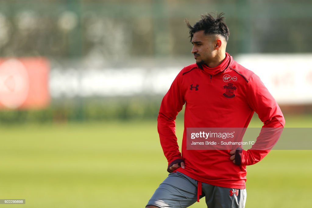 Sofiane Boufal during a Southampton FC training session at Staplewood Complex on February 21, 2018 in Southampton, England.
