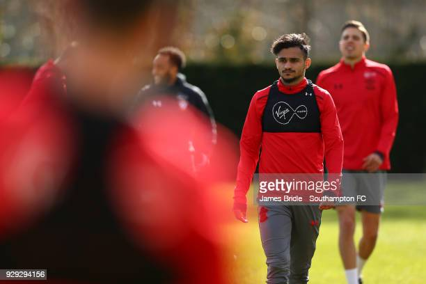 Sofiane Boufal during a Southampton FC training session at Staplewood Training Centre on March 8 2018 in Southampton England