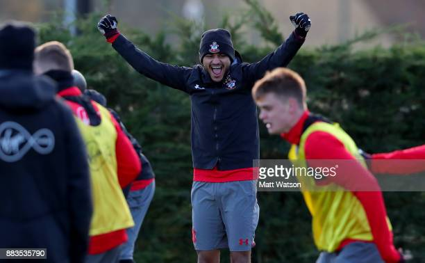 Sofiane Boufal during a Southampton FC training session at the Staplewood Campus on December 1 2017 in Southampton England