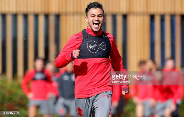 Sofiane Boufal during a Southampton FC training session at the Staplewood Campus on March 8 2018 in Southampton England