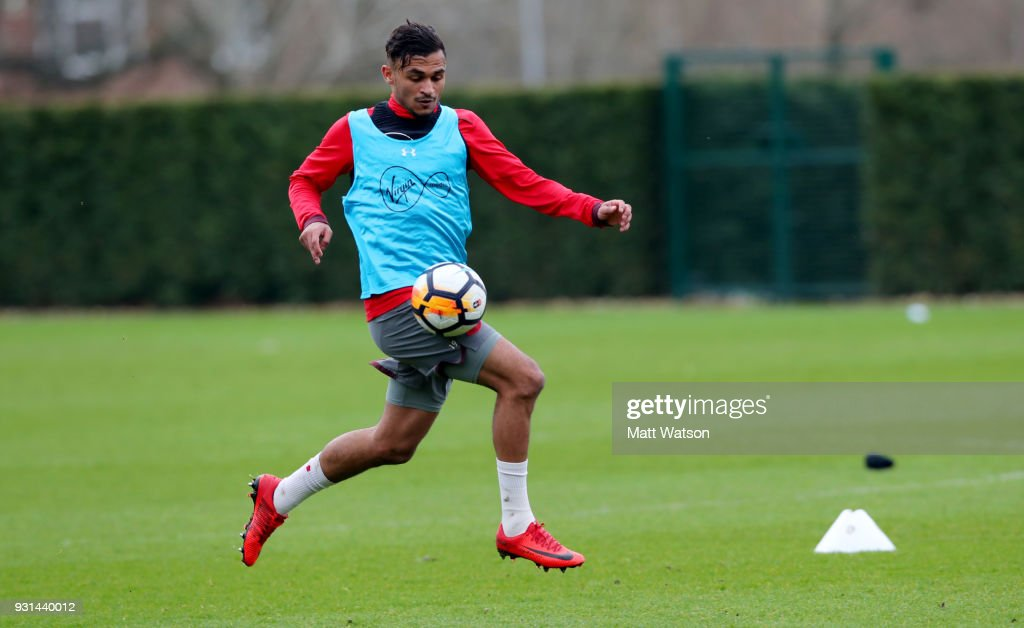 Sofiane Boufal during a Southampton FC training session at the Staplewood Campus on March 13, 2018 in Southampton, England.