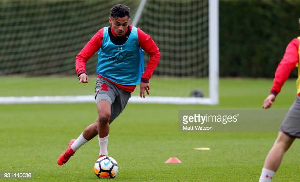 Sofiane Boufal during a Southampton FC training session at the Staplewood Campus on March 13 2018 in Southampton England