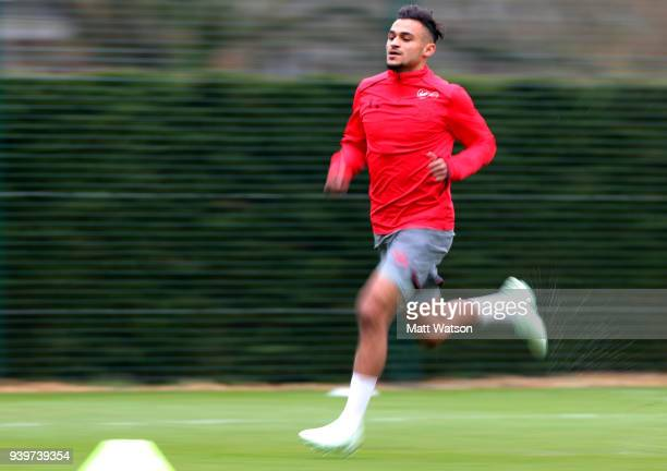 Sofiane Boufal during a Southampton FC training session at the Staplewood Campus on March 29 2018 in Southampton England