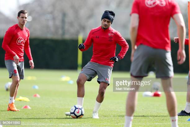Sofiane Boufal during a Southampton FC training session at the Staplewood Campus on April 6 2018 in Southampton England