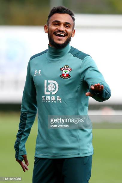 Sofiane Boufal gestures during a Southampton FC training session at the Staplewood Campus on October 17 2019 in Southampton England
