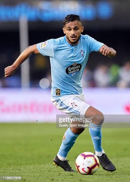 Sofiane Boufal of Celta de Vigo in action during the La Liga match between RC Celta de Vigo and Villarreal CF at Abanca Balaidos Stadium on March 30...