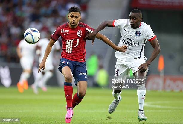 Sofiane Boufal of Lille and Blaise Matuidi of PSG in action during the French Ligue 1 match between Lille OSC and Paris SaintGermain at Grand Stade...