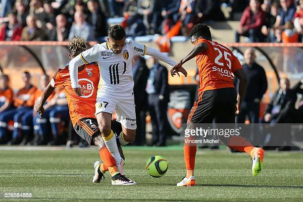 Sofiane Boufal of Lille during the French Ligue 1 match between Fc Lorient and Lille OSC at Stade du Moustoir on April 30, 2016 in Lorient, France.