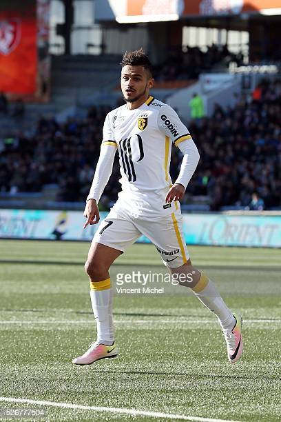 Sofiane Boufal of Lille during the French Ligue 1 match between Fc Lorient and Lille OSC at Stade du Moustoir on April 30 2016 in Lorient France