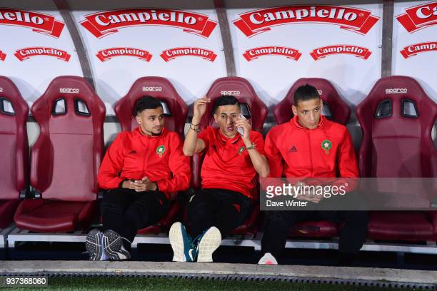 Sofiane Boufal of Morocco Faycal Fajr of Morocco and Yacine Bammou of Morocco before the international friendly match between Morocco and Serbia on...