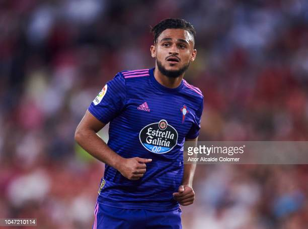 Sofiane Boufal of RC Celta de Vigo reacts during the La Liga match between Sevilla FC and RC Celta de Vigo at Estadio Ramon Sanchez Pizjuan on...