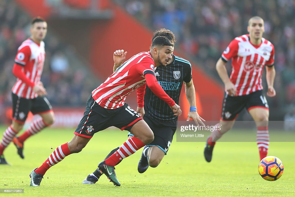Sofiane Boufal of Southampton and Claudio Yacob of West Bromwich Albion compete for the ball during the Premier League match between Southampton and West Bromwich Albion at St Mary's Stadium on December 31, 2016 in Southampton, England.