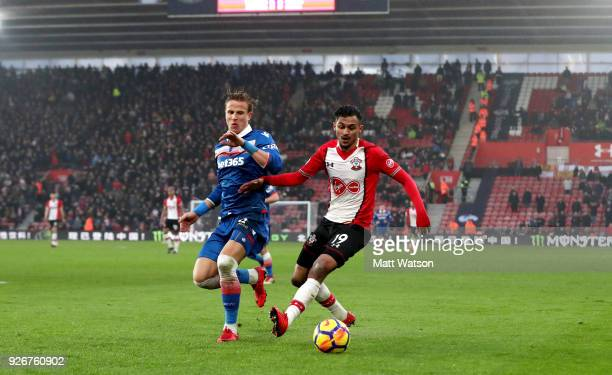 Sofiane Boufal of Southampton and Moritz Bauer of Stoke during the Premier League match between Southampton and Stoke City at St Mary's Stadium on...