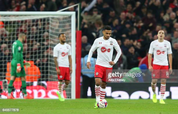 Sofiane Boufal of Southampton and team mates look dejected as Zlatan Ibrahimovic of Manchester United scores their third goal during the EFL Cup...