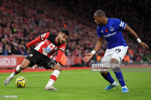 Sofiane Boufal of Southampton battles for possession with Djibril Sidibe of Everton during the Premier League match between Southampton FC and...