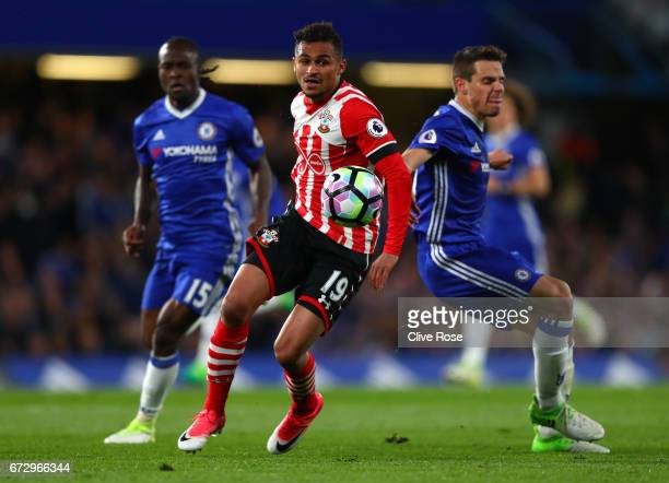 Sofiane Boufal of Southampton battles with Cesar Azpilicueta of Chelsea during the Premier League match between Chelsea and Southampton at Stamford...
