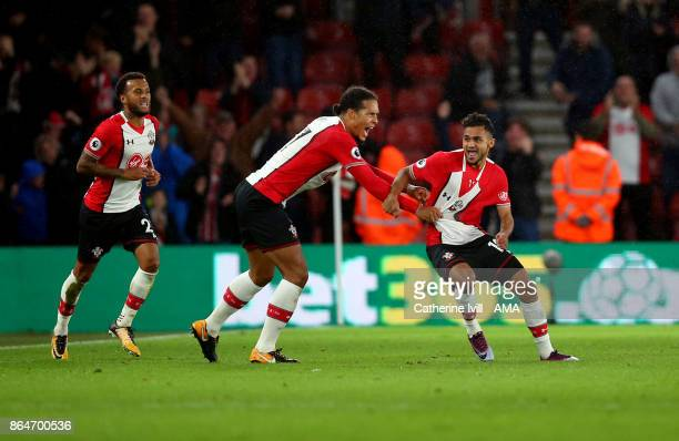 Sofiane Boufal of Southampton celebrates after he scores a goal to make it 10 during the Premier League match between Southampton and West Bromwich...