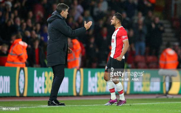 Sofiane Boufal of Southampton celebrates after scoring to make it 10 with Mauricio Pellegrino manager / head coach of Southampton during the Premier...