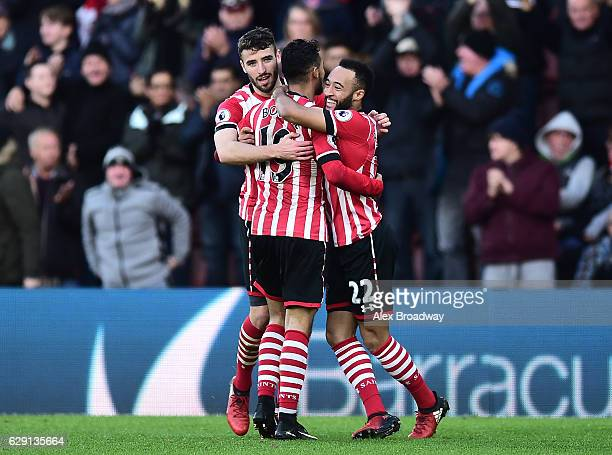 Sofiane Boufal of Southampton celebrates his side's first goal with Sam McQueen of Southampton and Nathan Redmond of Southampton during the Premier...