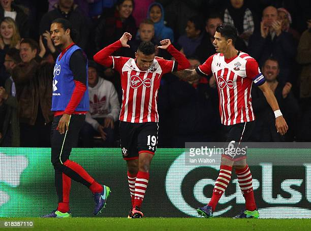 Sofiane Boufal of Southampton celebrates scoring his sides first goal with Jose Fonte of Southampton during the EFL Cup fourth round match between...