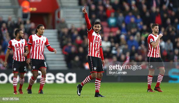 Sofiane Boufal of Southampton celebrates scoring his side's first goal during the Premier League match between Southampton and Middlesbrough at St...