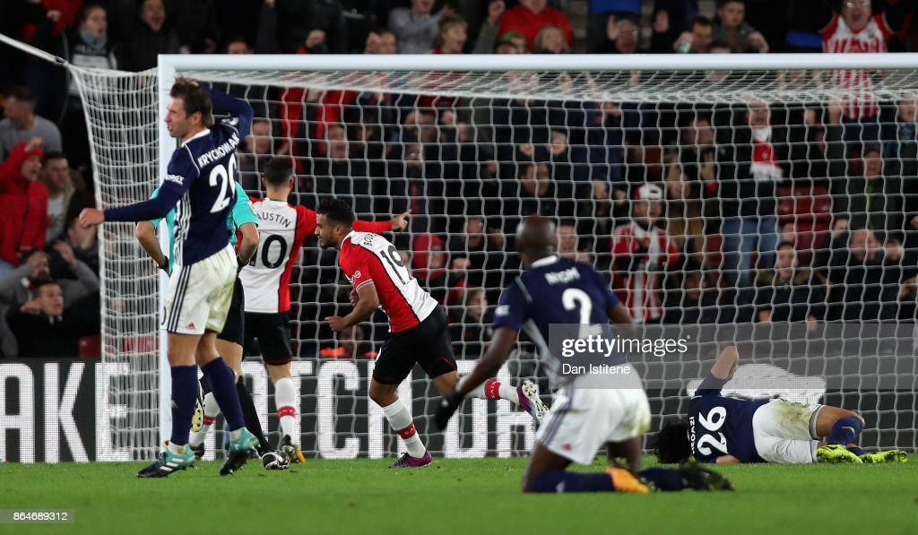 Sofiane Boufal of Southampton celebrates scoring his sides first goal during the Premier League match between Southampton and West Bromwich Albion at St Mary's Stadium on October 21, 2017 in Southampton, England.