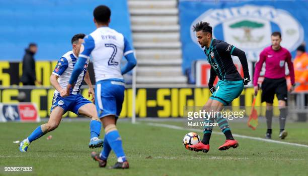 Sofiane Boufal of Southampton during the FA Cup Quarter Final match between Wigan Athletic and Southampton FC at the DW Stadium on March 18 2018 in...
