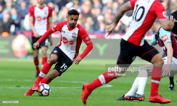 Sofiane Boufal of Southampton during the Premier League match between West Ham United and Southampton at the London Stadium on March 31 2018 in...