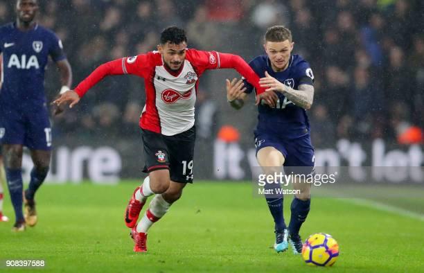 Sofiane Boufal of Southampton FC and Kieran Trippier of Tottenham Hotspur during the Premier League match between Southampton and Tottenham Hotspur...
