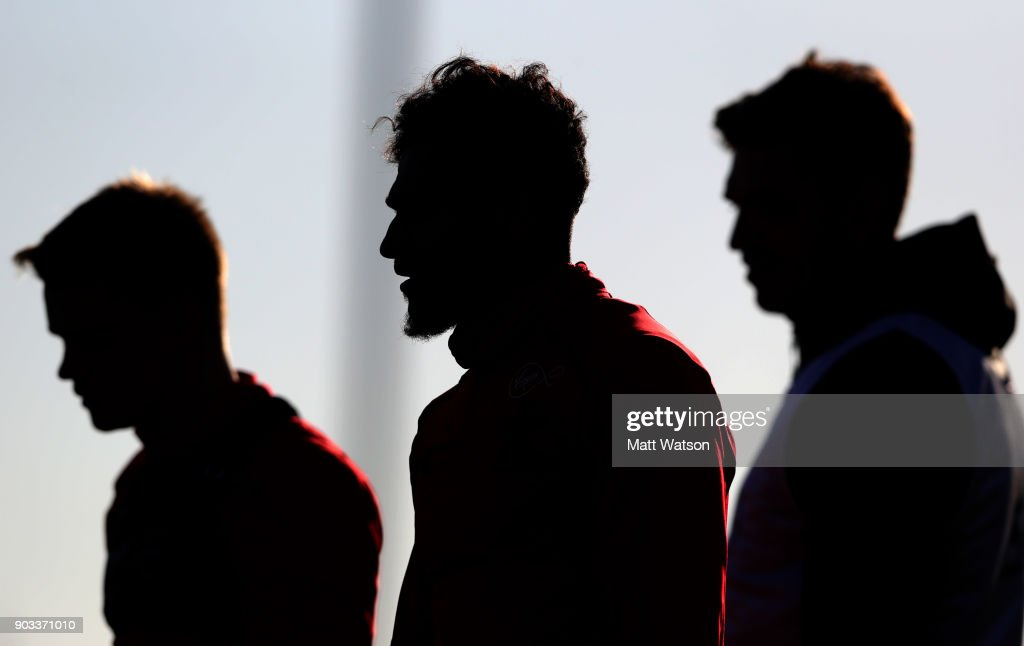 Sofiane Boufal(centre) of Southampton FC during a training session at the Staplewood Campus on January 10, 2018 in Southampton, England.