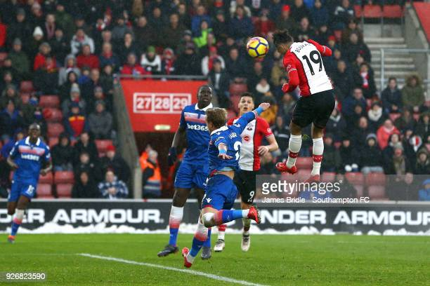 Sofiane Boufal of Southampton FC heads the ball during the Premier League match between Southampton and Stoke City at St Mary's Stadium on March 3...