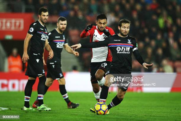 Sofiane Boufal of Southampton FC takes on Crystal Palace's Yohan Cabaye during the Premier League match between Southampton and Crystal Palace at St...