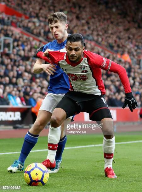 Sofiane Boufal of Southampton holds off Jonjoe Kenny of Everton during the Premier League match between Southampton and Everton at St Mary's Stadium...