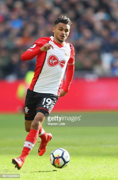Sofiane Boufal of Southampton in action during the Premier League match between West Ham United and Southampton at London Stadium on March 31 2018 in...
