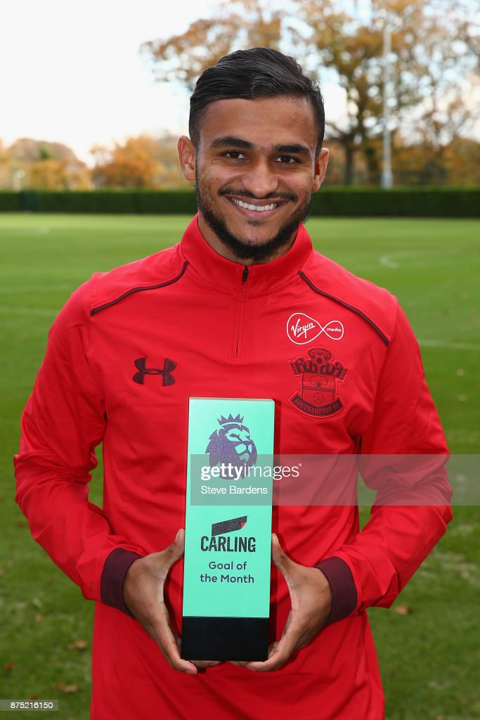 Sofiane Boufal of Southampton is presented with the Carling Premier League Awards Goal of the Month award for October at Staplewood Complex on November 16, 2017 in Southampton, England.