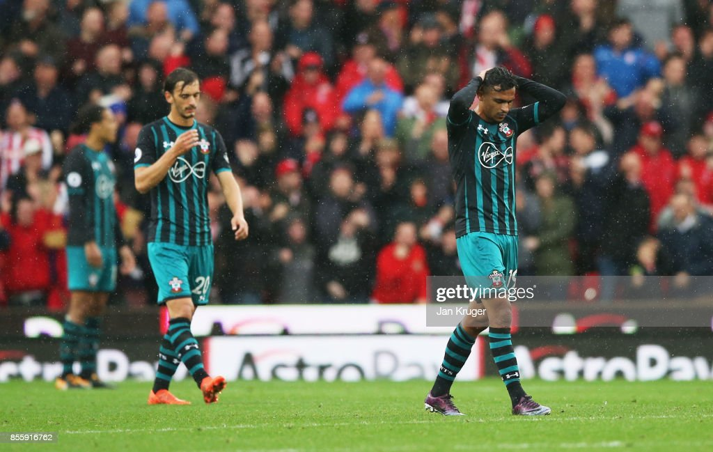 Sofiane Boufal of Southampton reacts during the Premier League match between Stoke City and Southampton at Bet365 Stadium on September 30, 2017 in Stoke on Trent, England.