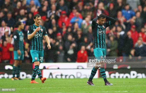 Sofiane Boufal of Southampton reacts during the Premier League match between Stoke City and Southampton at Bet365 Stadium on September 30 2017 in...