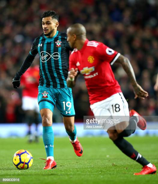 Sofiane Boufal of Southampton runs with the ball during the Premier League match between Manchester United and Southampton at Old Trafford on...