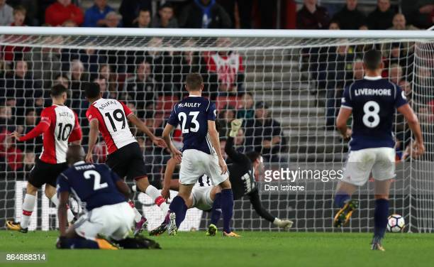 Sofiane Boufal of Southampton scores his sides first goal during the Premier League match between Southampton and West Bromwich Albion at St Mary's...