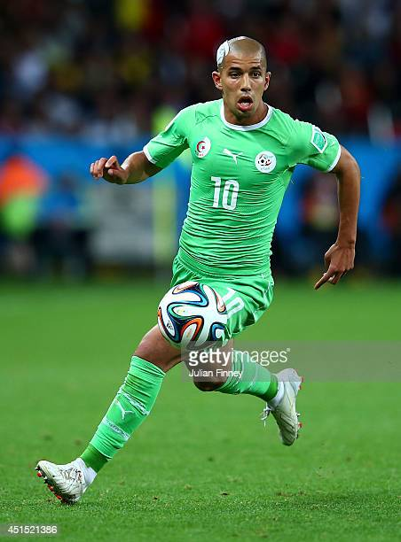 Sofiane Feghouli of Algeria controls the ball during the 2014 FIFA World Cup Brazil Round of 16 match between Germany and Algeria at Estadio BeiraRio...