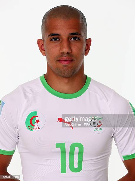 Sofiane Feghouli of Algeria poses during the official FIFA World Cup 2014 portrait session on June 8 2014 in Sao Paulo Brazil