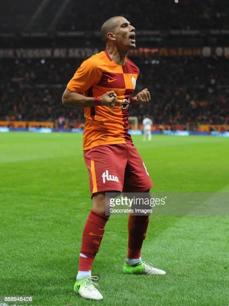Sofiane Feghouli of Galatasaray celebrates 42 during the Turkish Super lig match between Galatasaray v Akhisar Belediyespor at the Turk Telecom...